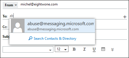 Contacts Search pop up
