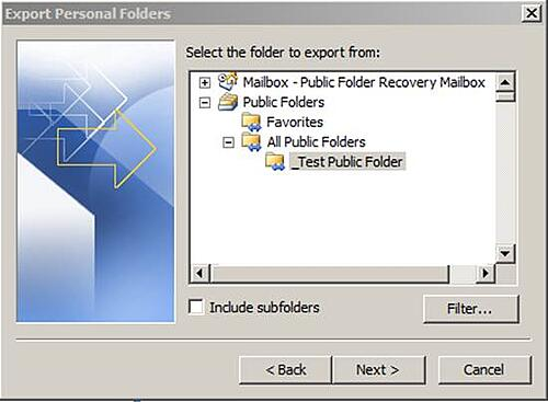 Exchange 2010 Public Folder Data Recovery Step 7