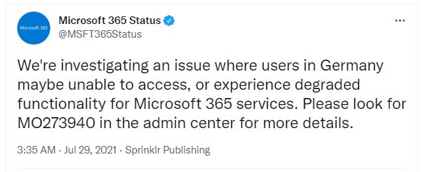 Microsoft first announces issue on Twitter