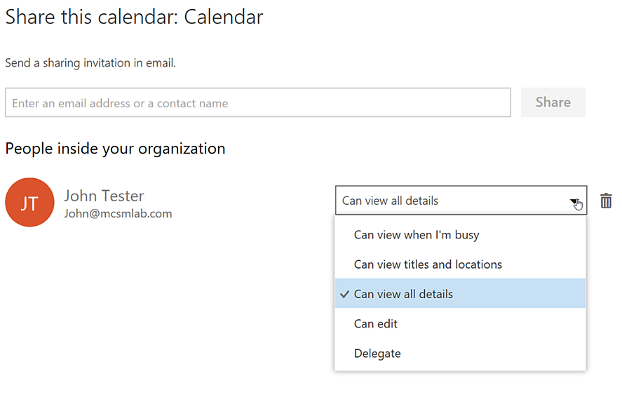 New Calendar Sharing Experience in Office 365