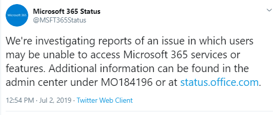 July 2019 - Office 365 outages