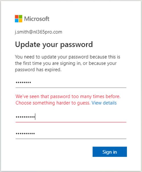 Password Change Denied popup