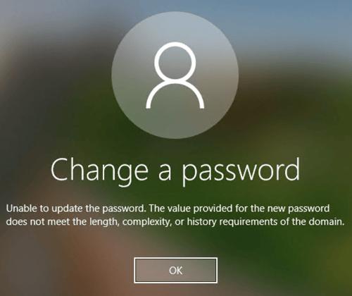Unable to change password popup