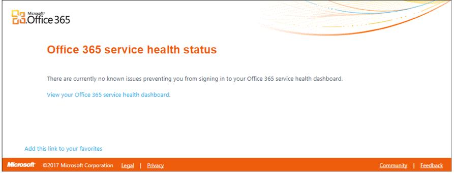 Office 365 Health Status