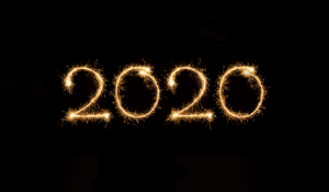 2020 in sparkling flame font