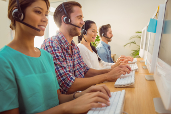 customer service reps with headsets