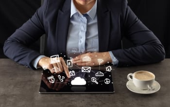 business person using computer tablet