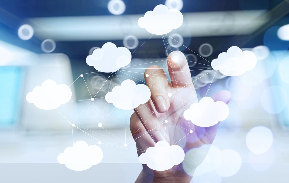Finger touching virtual cloud icons