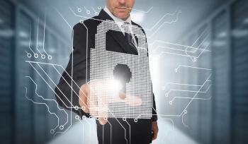 business man touching cyber padlock