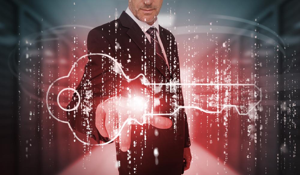 businessman touching virtual key
