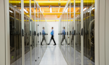 Person walking in computer server room