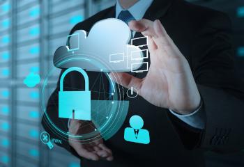 businessman touching virtual cloud and padlock